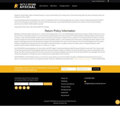 Return Policy Page
