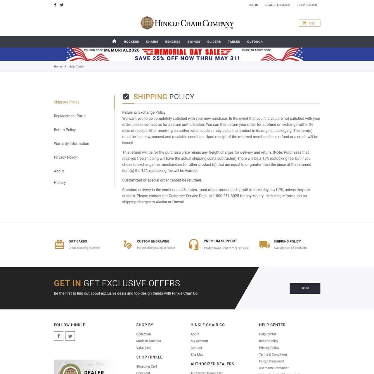 Shipping Policy Page