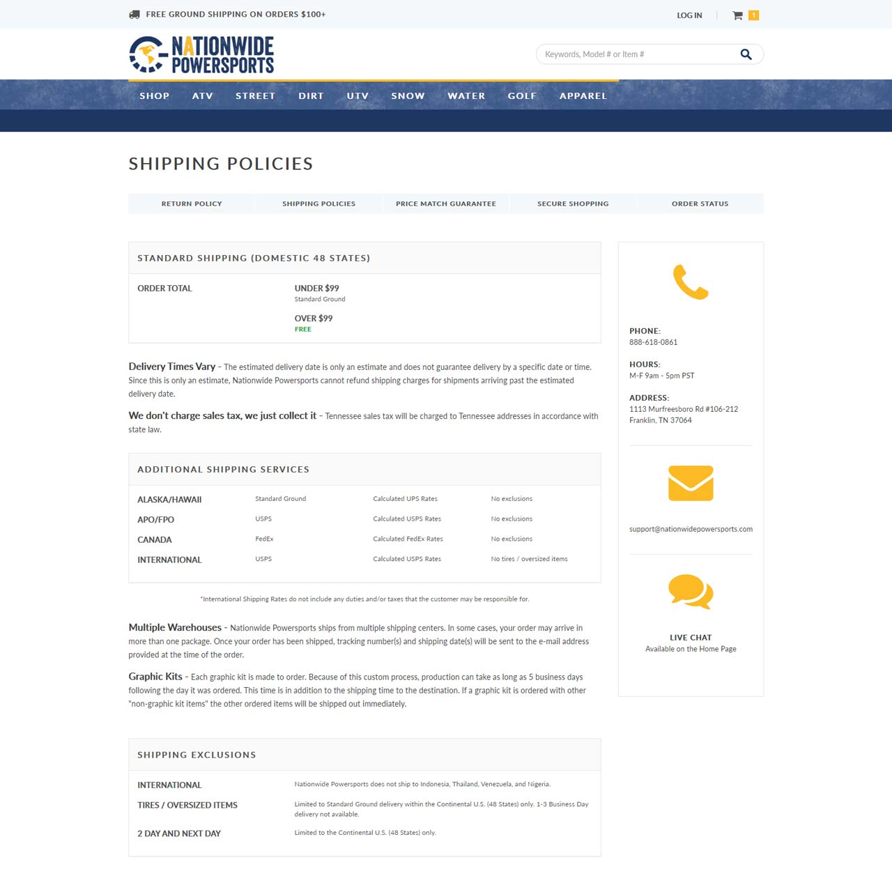 Shopping Policy Page
